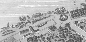 Der Schiffbauplatz mit der Werft Leux aus der Vogelperspektive: Hier errichtete der FRV 1865 sein erstes Domizil, das er mehrmals erweiterte, bis er 1871 auf die Maininsel umzog.