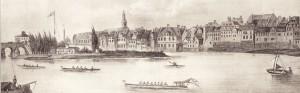 Boote am Bootshaus des FRV im Jahr 1874: zwei Vierer, ein Zwölfer, ein Kajak, ein Segelboot