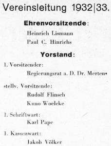 Vereinsleitung ab Dezember 1932 auf Innentitel der MM, NSDAP-Mitglied Mertens, Lismann fehlt später, muss emigirieren