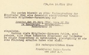 Einladung zur Vorbesprechnung der ersten Mitgliederversammlung nach dem Zweiten Welkrieg (zum Vergrößern anklicken)