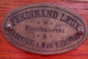 Originalmarke des Bootsbauers Leux im Phoenix, vermutlich vor 1925