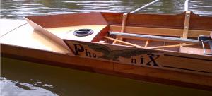 Namenszug auf dem Riemen-Vierer Phoenix